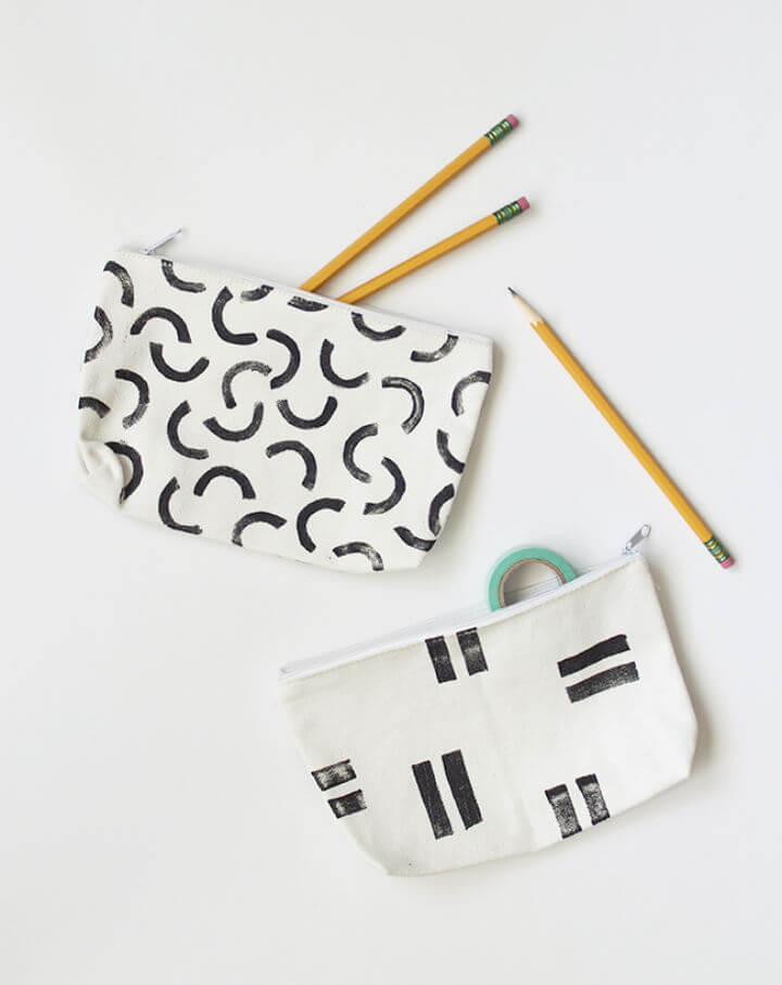 Inexpensive DIY Stamped Pencil Pouches