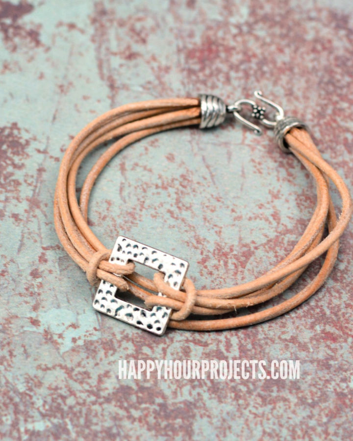 Layers Of Leather Pewter Bracelet