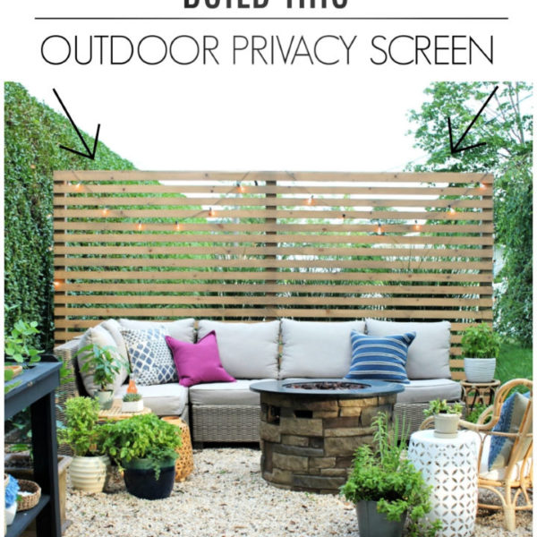 Modern Wood Slatted Outdoor Privacy Screen