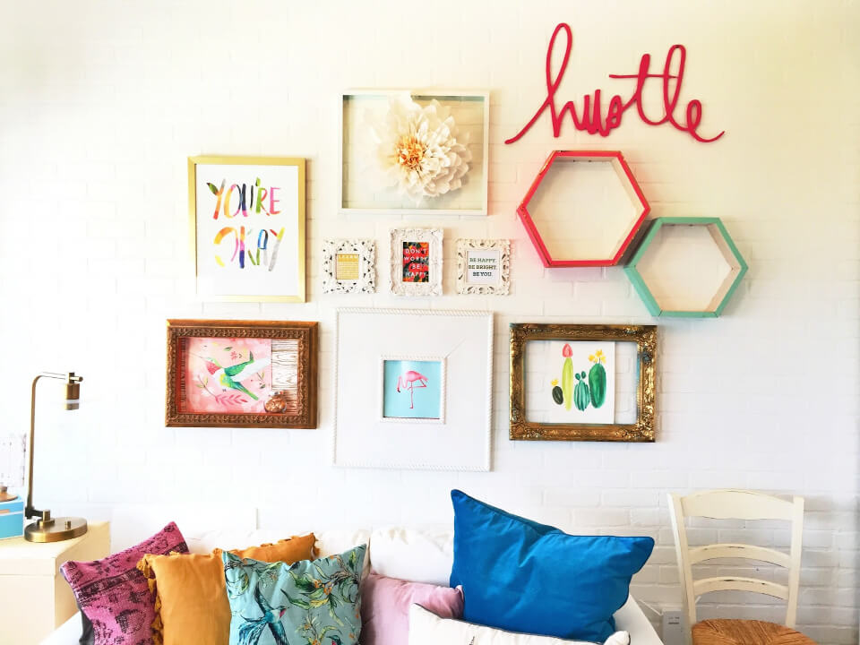 Office Gallery Wall With Paper Flower