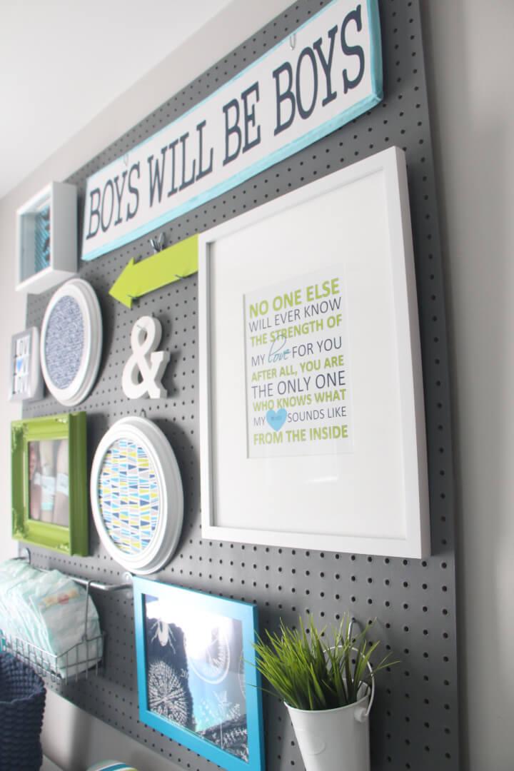 Pegboard Gallery Wall for Nursery Room