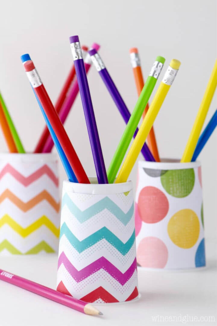 Pencil Holder Using Cup and Wrapping Paper