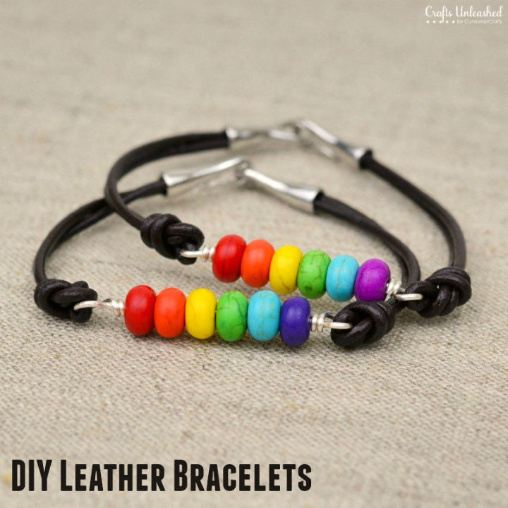 Rainbow Beaded Leather Bracelet