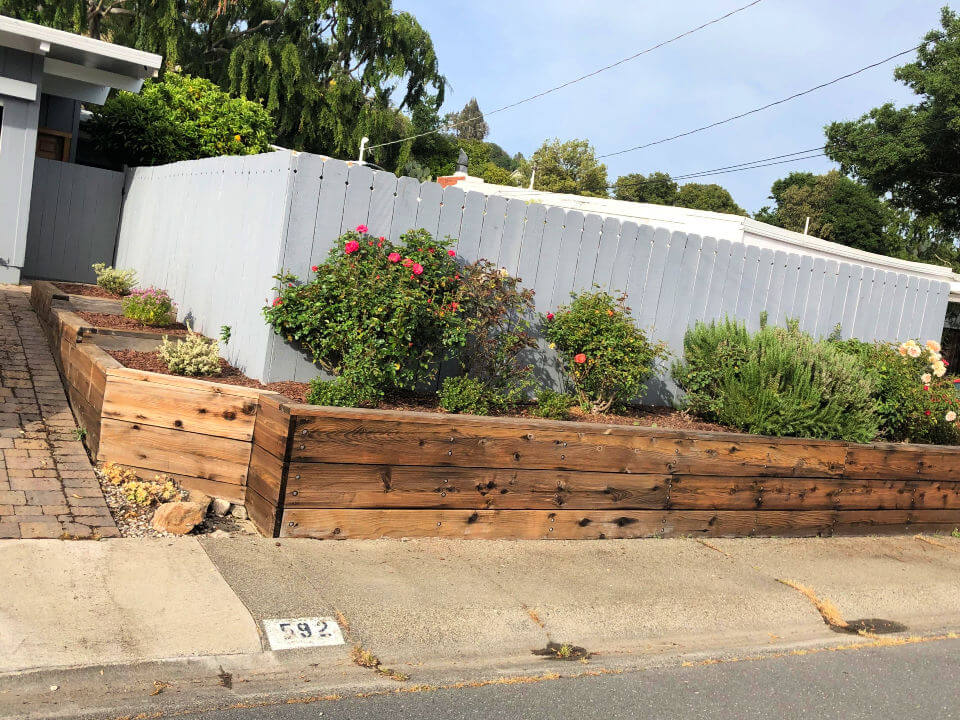 Retaining Wall Made Of Redwood