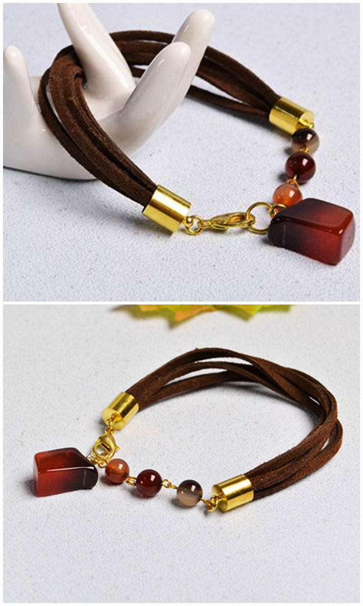 Simple Agate Beaded Suede Cord Bracelet