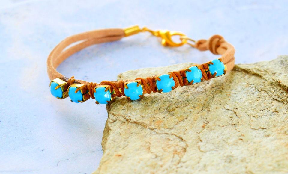 Turquoise Rhinestone Wrapped Bracelet