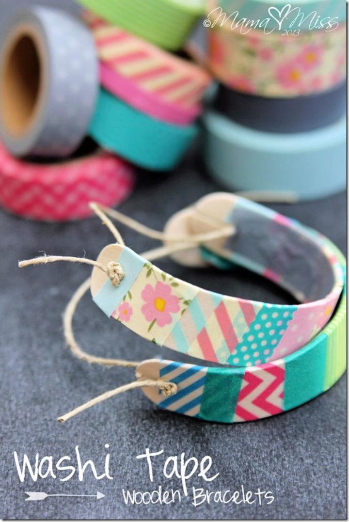 Washi Tape Wooden Bracelets