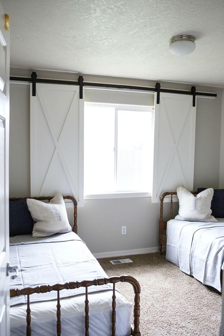 Wonderful DIY Barn Door Window Treatment
