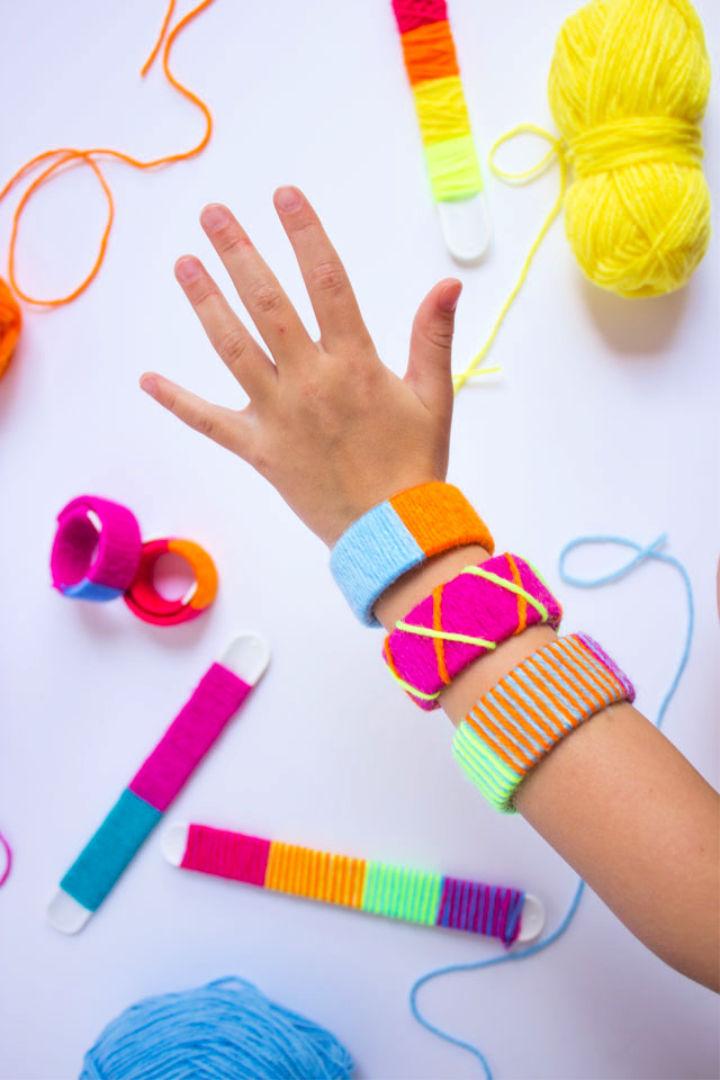 Yarn Wrapped Slap Bracelets Kids Craft