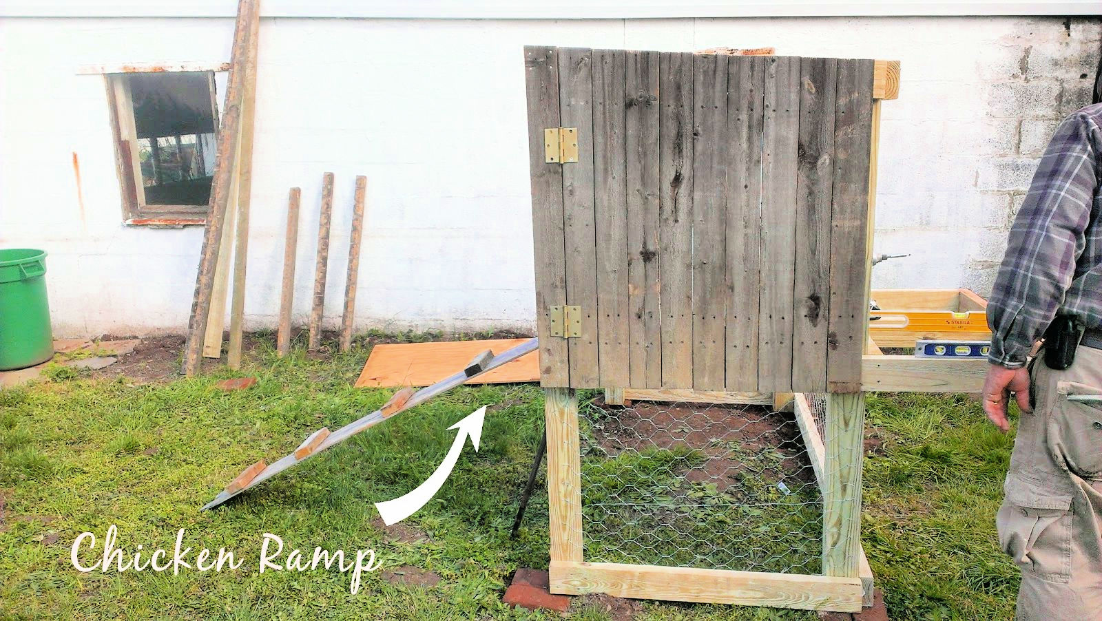 chicken coop ramp and door built and ready to attach