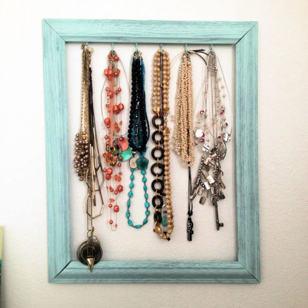 diy necklace holder to display your jewelry in an organized way